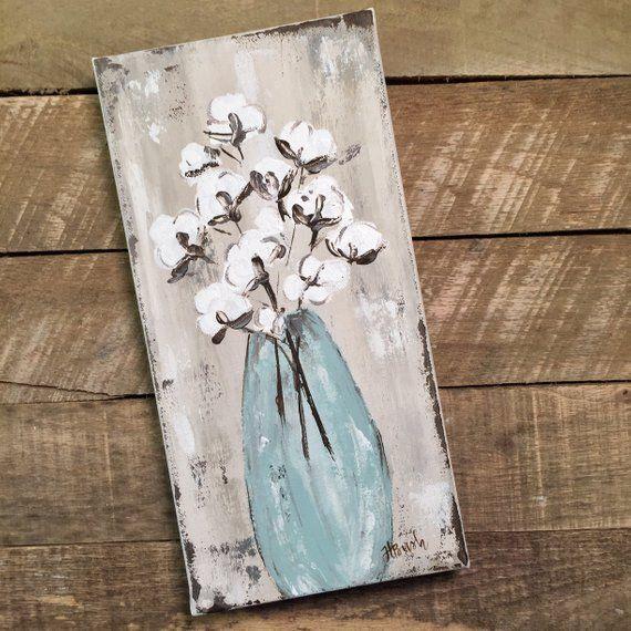 Cotton Art Print, Cotton Stalks in Vase, Cotton Decor, Farmhouse Decor, Cotton Bolls, Cotton Painting, Artist Prints, Canvas Print, Cotton