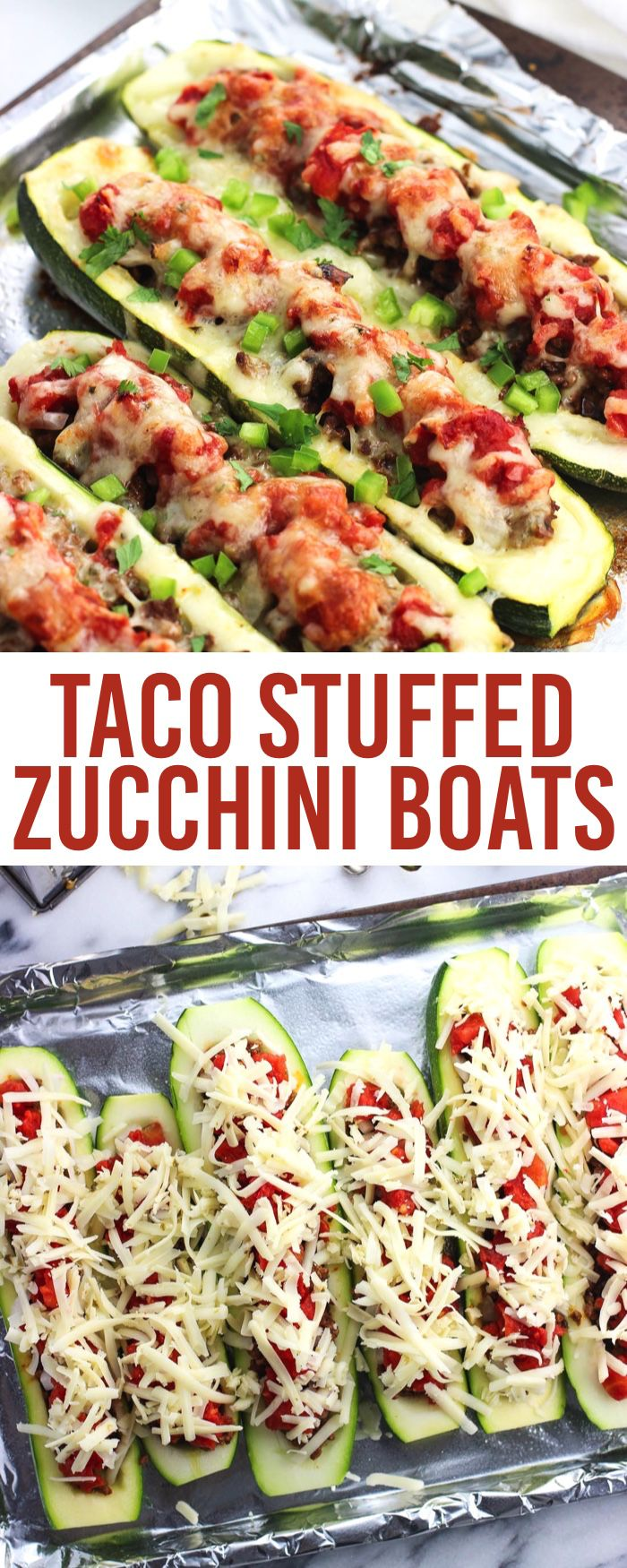 Taco-seasoned ground beef, tomatoes, and pepper jack cheese help make these taco stuffed zucchini boats a satisfying (and better for you) main dish recipe.