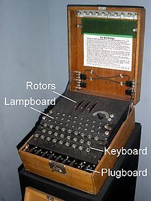 An Enigma machine was a series of electro-mechanical rotor cipher machines developed and used in the early to early-mid twentieth century for commercial and military usage. Enigma was invented by the German engineer Arthur Scherbius at the end of World War I