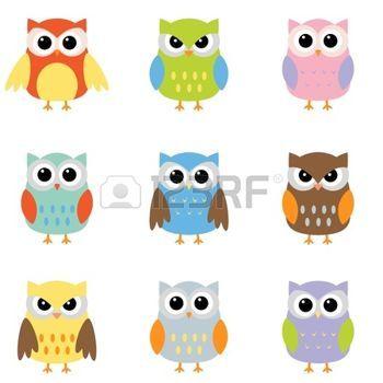 cartoon bird: Owls with nine color combinations Illustration
