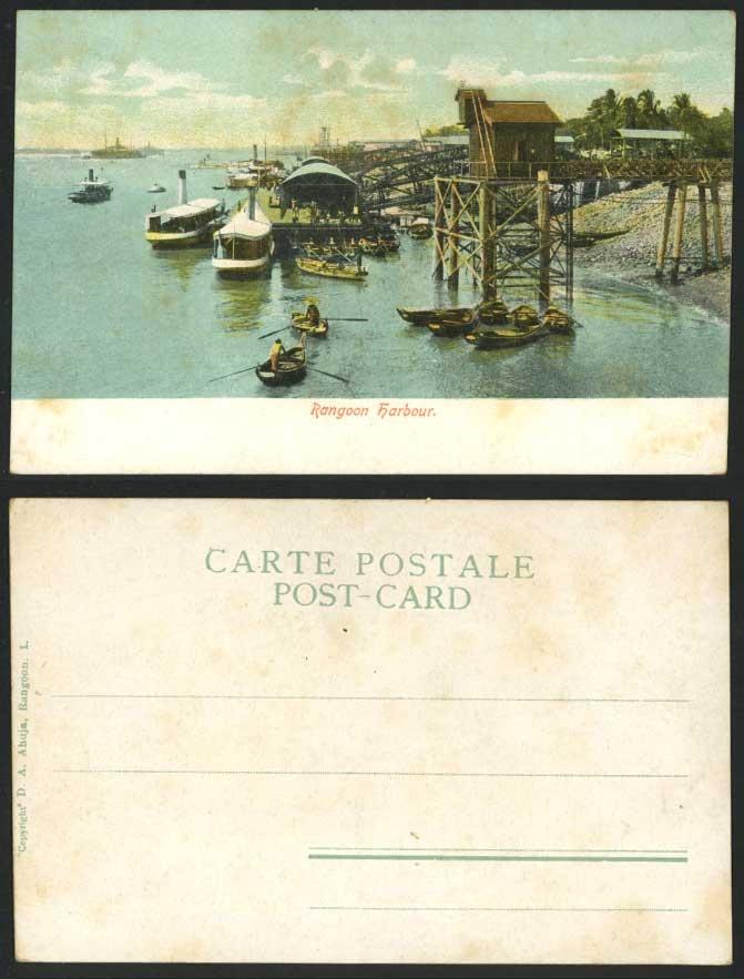 Burma Old U.B. Postcard RANGOON HARBOUR, Ships Steam Boats Steamboats Quay Wharf