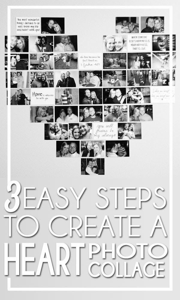 3 Easy Steps to create a Heart Photo Collage #photography #DIY