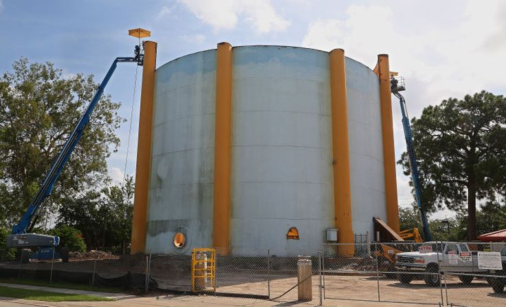 Demolition has begun on a 65yearold water tower that has