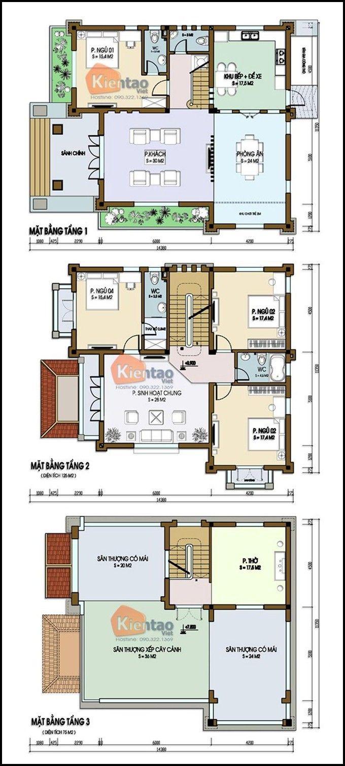 Mặt bằng kỹ thuật tham khảo dành cho mẫu nhà biệt thự đẹp 3 tầng 160m2, Thiết kế nhà đẹp hiện đại