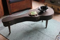 Vintage Guitar Case Coffee Table wth 60\'s Legs, Record Bowl, Music Notes, Anthro