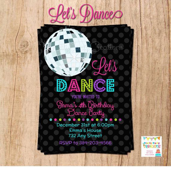 LET'S DANCE Disco Ball invitation YOU by PrettyPartyCreations, $11.50