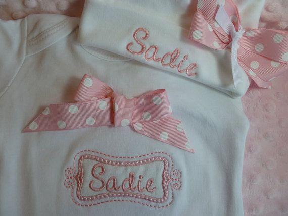 Personalized Baby Girl one piece tm by jennifernoeldesigns on Etsy, $33.00