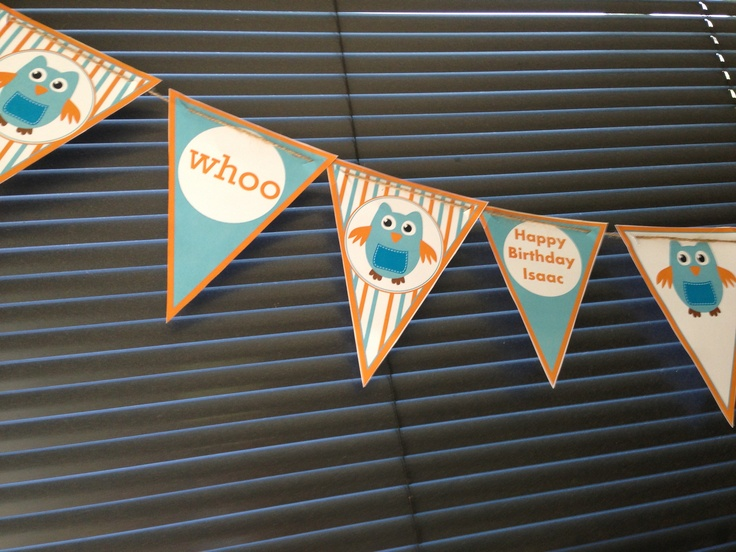 Homemade giggle and hoot bunting