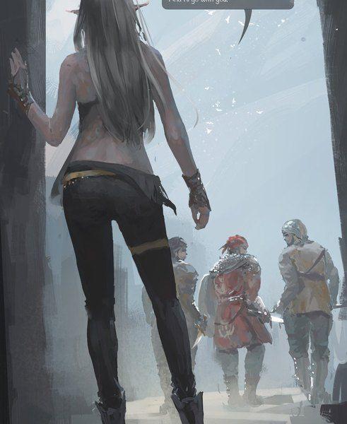 800x976 с ghost blade yan (ghost blade) wlop длинные волосы высокое изображение голые плечи небо стоя серые волосы острые уши ветер сзади брови спина на улице идёт девушка мужчина оружие меч
