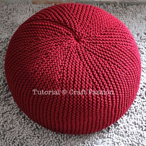 Perfect pouf (or puff) knitting pattern using short row technique to give a nice top-bottom appearance. Stuff wt cheap duvets or stool bean bag to complete.