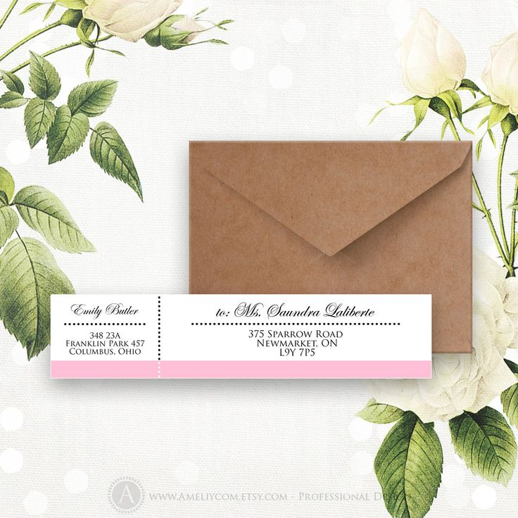 Printable Wrap Around Address Labels Pink Editable Instant Download Digital DIY, Retro Address Label Stickers Template for A6, A7 envelopes