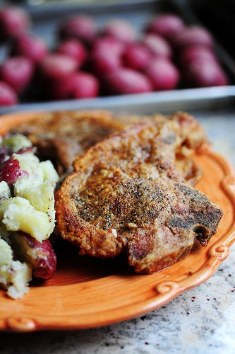 Pan-Fried Pork Chops. One of my husband's top five favorite things to eat in the universe.