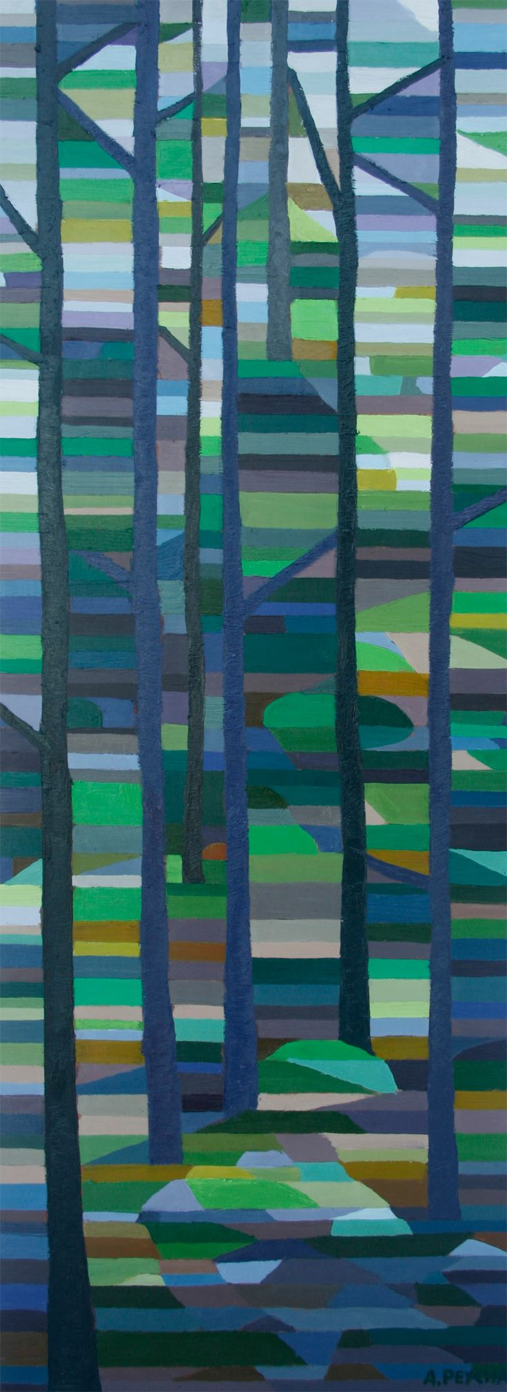 Green Forest Oil on Board 48 X 18
