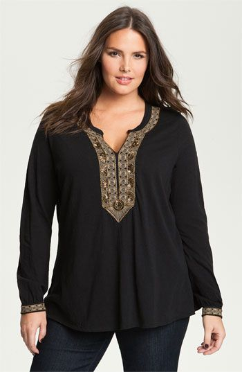 Lucky Brand 'Jasmine' Beaded Tunic (Plus) available at Nordstrom