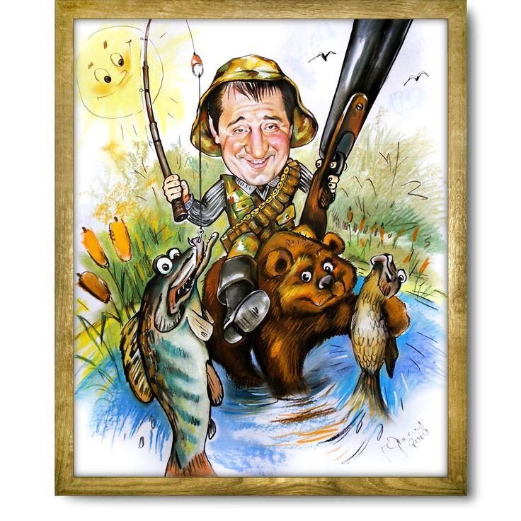 Открытка охотнику и рыбаку с днем рождения прикольные, цветные марта