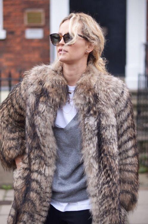 fur, knit & cat-eye sunglasses #style #fashion