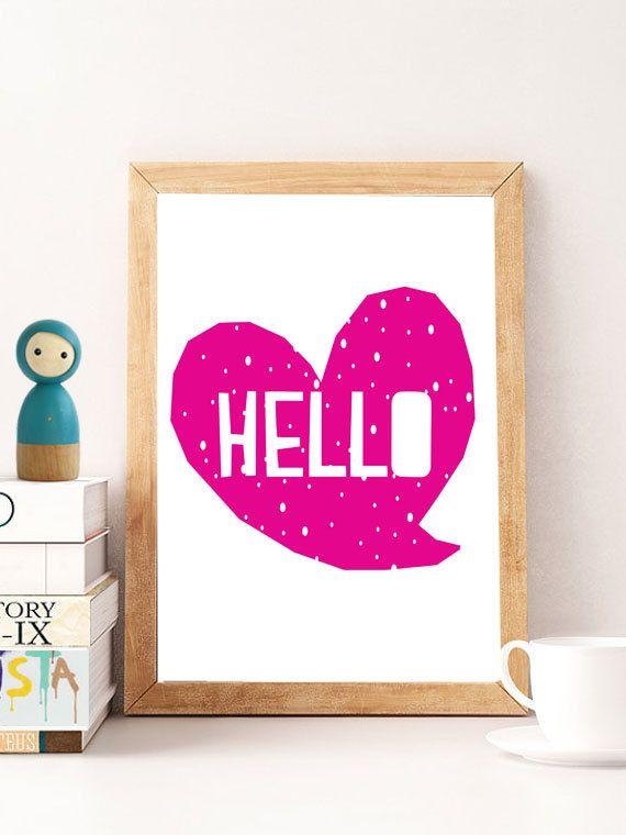 Hello print, wall art prints hello, heart poster, hello digital, hallway decor, hello download, hallway printable, wall decor, minimalistic by…