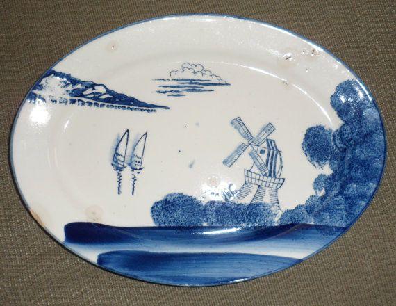 Post 1941 VINTAGE PLATTER/Made in Japan/Blue on White by BYGONERA