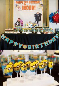 despicable me dessert table and minion cake pops