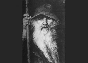 Den nordiske gud Odin er blevet portrætteret på mange forskellige måder igennem historien. Ofte som kriger på heste-ryg. Her er han dog som vandringsmand. (Tegning: Georg von Rosen, 1886)