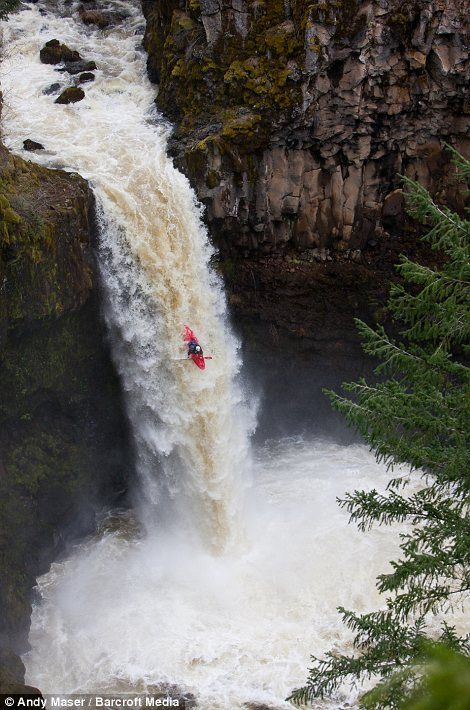 Paddling over the edge of the 70 foot Outlet Falls in Washington state is a pretty gutsy way to have fun.