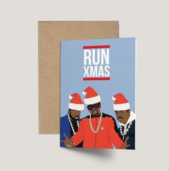 RUN DMC Run Xmas Funny Christmas Card Anniversary by GREETYOSELF