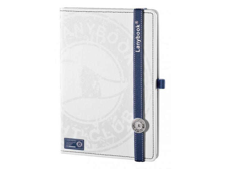 Krásný zápisník Lanybook v bílé barvě s námořnickým potiskem, moderním prošitím a kulatým Lanybuttonem bude vždy Vaším elegantním doplňkem.