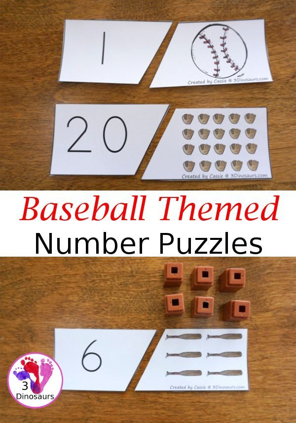 Free Hands On Counting With Baseball Number Matching Puzzles 2 Piece Puzzles With Number Math Activities Preschool Math Activities For Kids Numbers Preschool