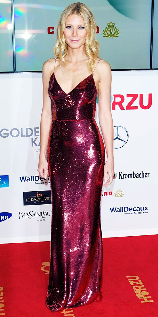 At the 49th Golden Camera Awards, Gwyneth Paltrow stunned in a slinky ruby Prada gown with all-over sequins.