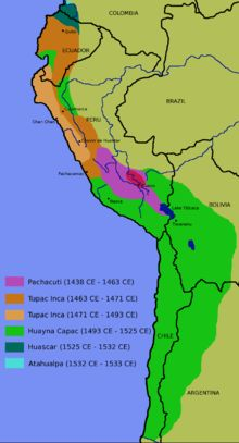 """Inca Empire-- (Quechua: Tawantinsuyu, lit. """"The Four Regions""""), also known as the Incan Empire, was the largest empire in pre-Columbian America.[3] The administrative, political, and military center of the empire was located in Cusco in modern-day Peru. The Inca civilization arose from the highlands of Peru sometime in the early 13th century, and the last Inca stronghold was conquered by the Spanish in 1572."""