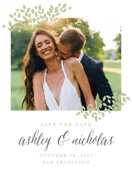 """Accent your engagement photo with the delicate foliage of the Blushing Leaves <a class=""""crosslink"""" href=""""https://www.basicinvite.com/wedding/save-the-date.html"""" target=""""_self"""" alt=""""Save the Date Cards Online"""" title=""""Save the Date Cards Online"""">Save-the-Date Cards</a>. These save-the-dates from the Love Vs Design Collection at Basic Invite are fully customizable. Fill them out with y..."""