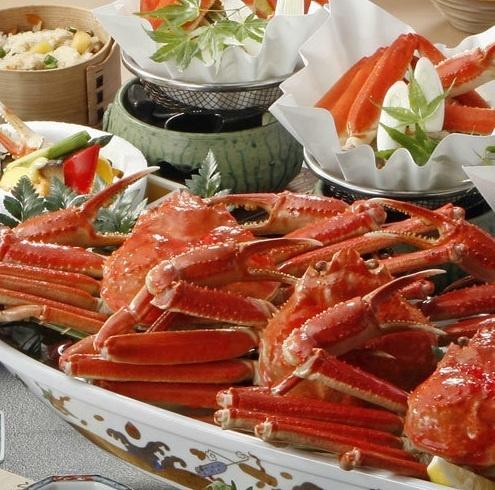 かに鍋、天麩羅、ボイル蟹と蟹を堪能できる会席。
