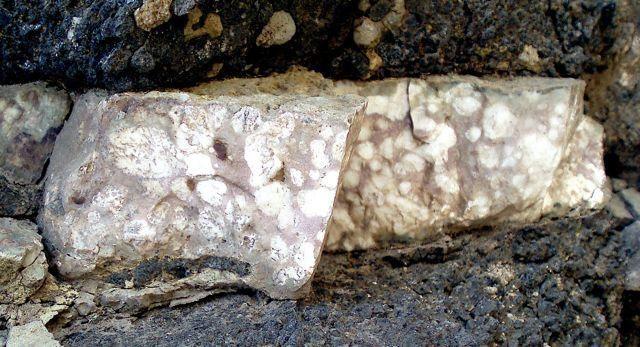 Filoncillo de fosforita rellenando la grieta de una roca volcánica. Guayedra, Gran Canaria, España Anchio del filón 5 cm