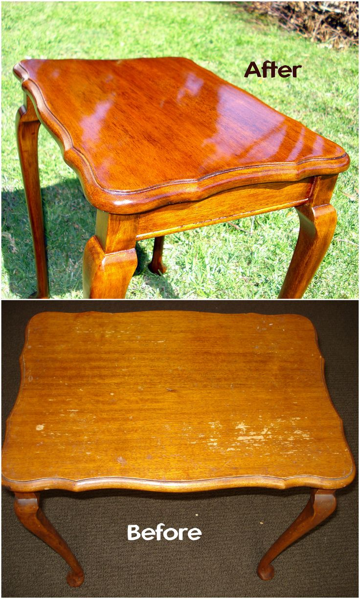 "This nest of tables has been in my family for over 45 years, but was in desperate need of a bit of TLC. So I'm currently stripping them back to bare timber, shellacing them and then french polishing all three tables. They are made of maple and have beautiful turned Queen Anne legs. The photo shows the before and after of one of the completed tables. As you can see, the french polish coat gives the table a beautiful ""glass effect"" and also helps to bring out the grain of the timber."