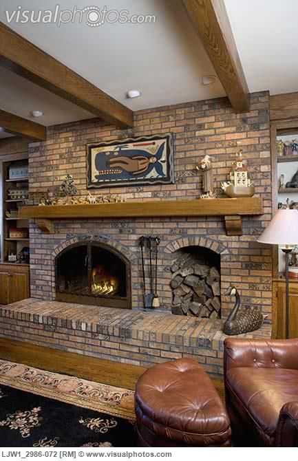 fireplace with wood box | FIREPLACES: raised hearth brick ...
