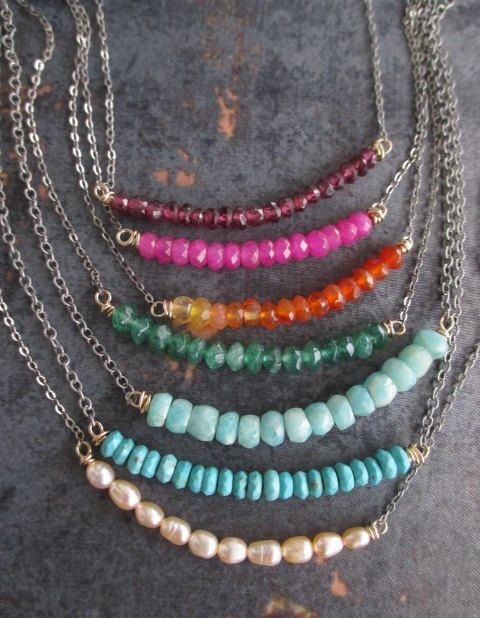 Dainty gemstone necklace Barre CHOOSE your COLOR by slashKnots