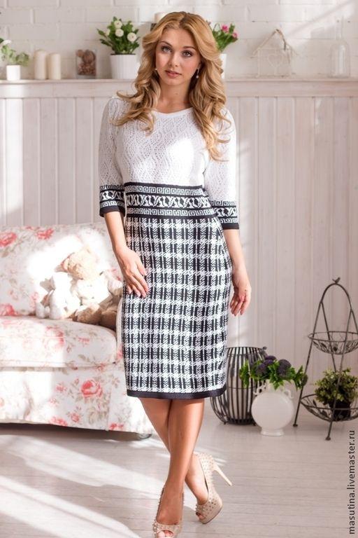 """Купить Платье """"Клетка"""" - чёрно-белый, платье в клетку, платье для офиса, черно белое платье"""