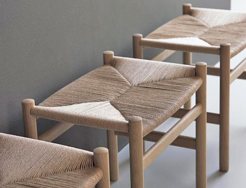ch53 Hans Wegner, 1965  Hardwood, natural cord caning  Made in Denmark