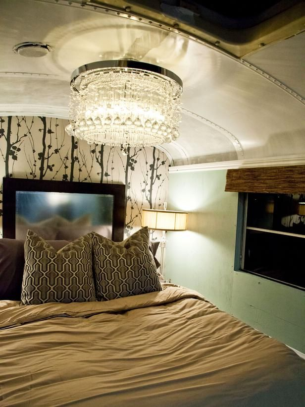 The platform bedroom in Anne Rue's bus features a crystal chandelier and organic wallpaper. (http://www.hgtv.com/hgtv-star/hgtv-star-season-8-photo-highlights-from-episode-6/pictures/page-25.html?soc=Pinterest)