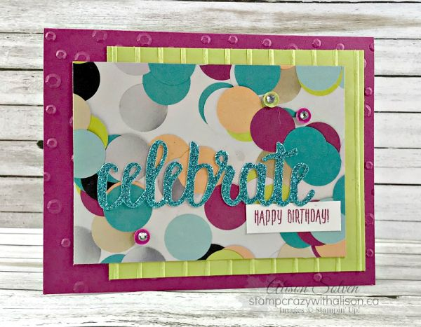 Picture Perfect Birthday, Picture Perfect Party dsp, Myths & Magic Glimmer Paper, Scattered Sequins & Simple Stripes embossing folders, Celebrate You Thinlits (SAB 2018) - all from Stampin' Up!