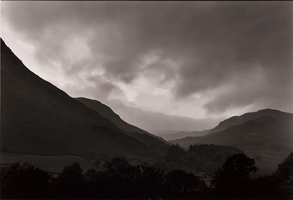 Paul Caponigro, Hills and Clouds, Cumbria, England, 1978, Silver gelatin print, 14 x 9.75""