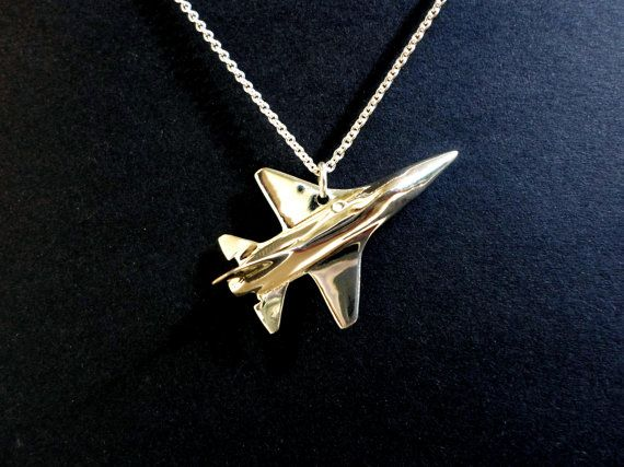 Airplane necklace F16 pendant jewelry mach speed by jewelsculpts