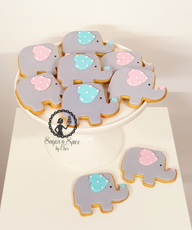 Elephant baby shower cookies...boy? girl? #sugarnspicebycher
