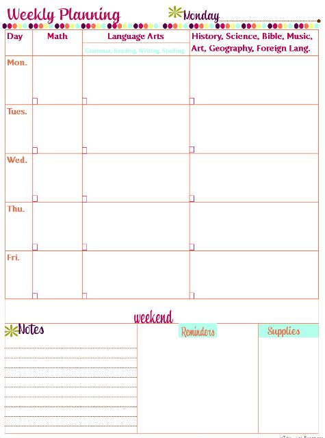 Best Lesson Planner Images On   Free Printables