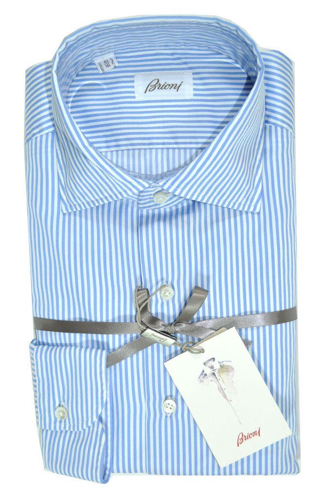 Brioni Dress Shirt Sartorial White Blue Stripes 41 - 16 by Brioni | Tie Deals