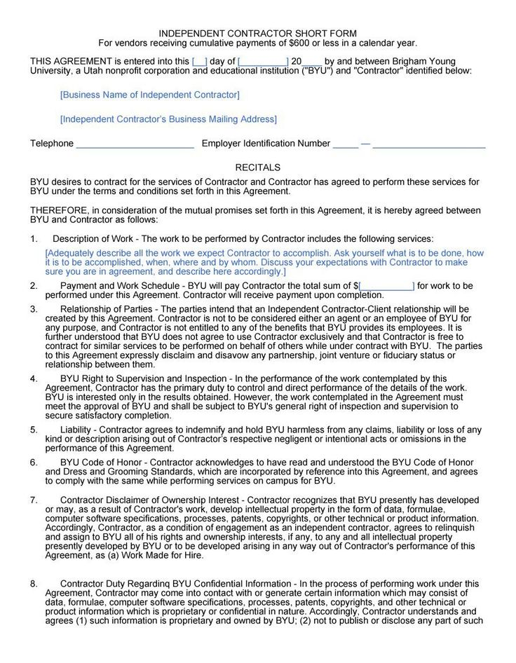 Free independent contractor agreement forms templates for