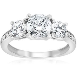 1 5/8 ct Round Diamond 3 Stone Engagement Ring White Gold Solitaire Jewelry