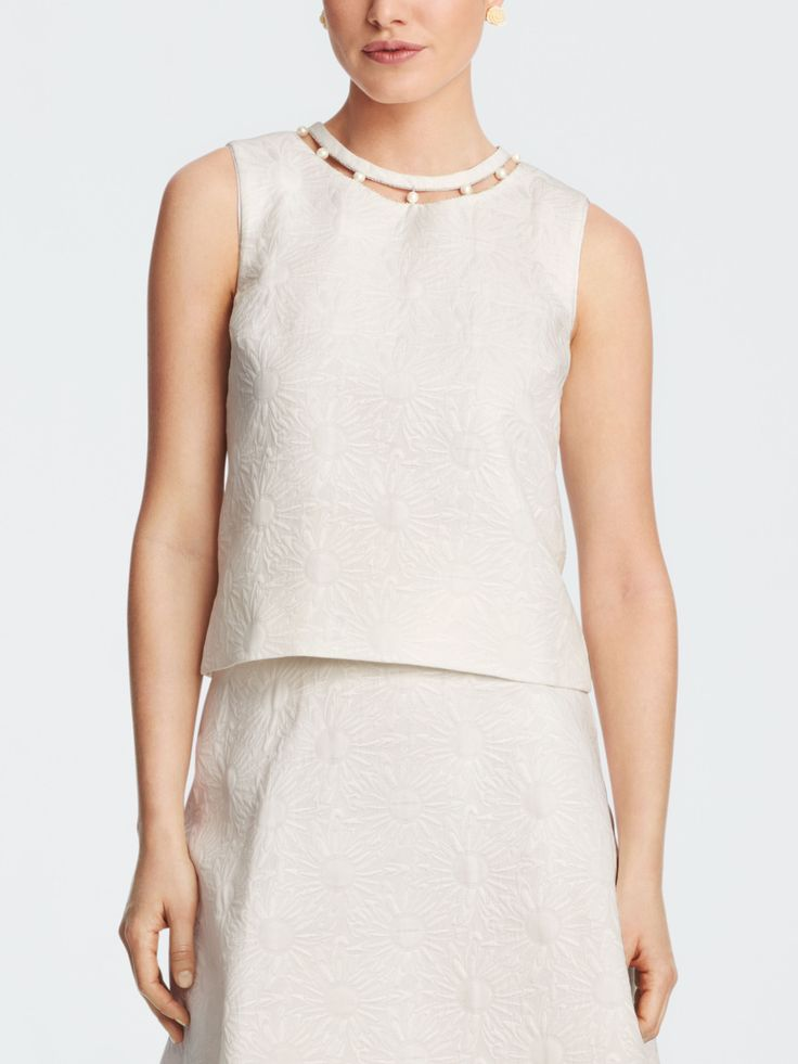 Draper James - Collection Matallese Pearl Tank - White - 00