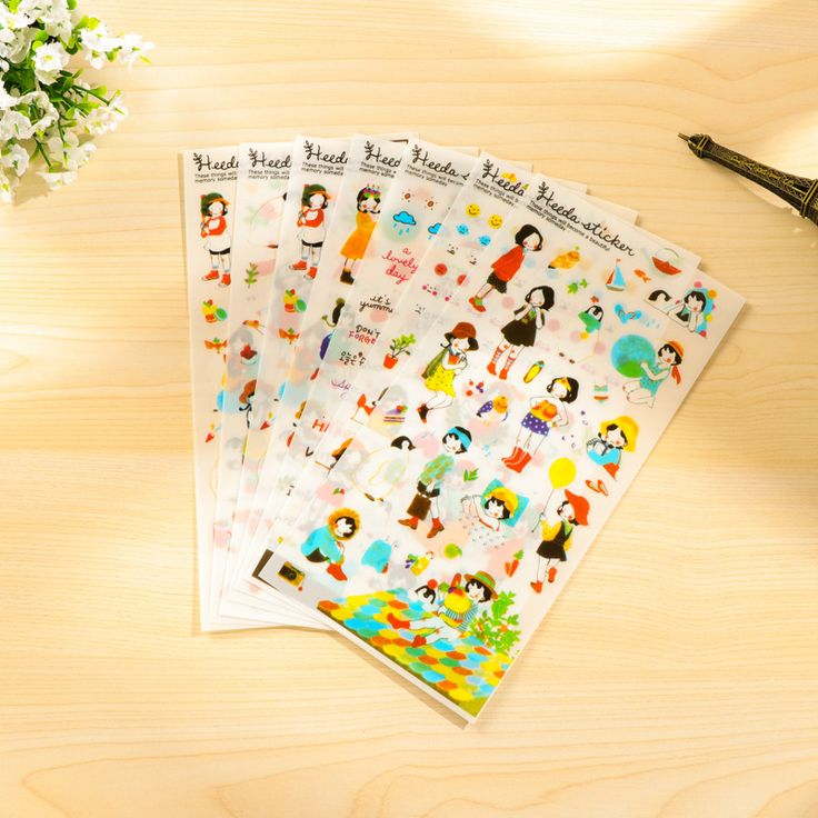 6 Sheets Heeda Girls Pvc Sticker Korean Style Cute Kawaii Planner Stickers For Notebook Diary Deoration Memo Pad