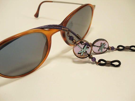 Dragonfly Lanyard Eyewear Frames Purple Leather Eyeglass